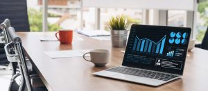 data on laptop sitting on table